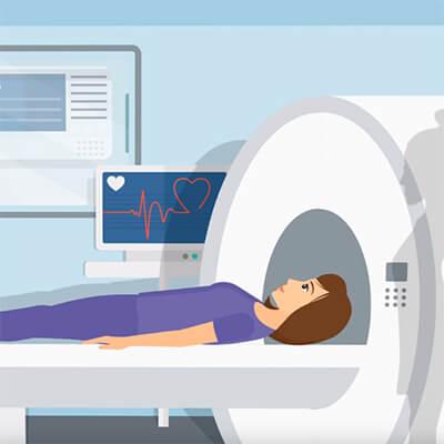 Девушка на МРТ позвоночника